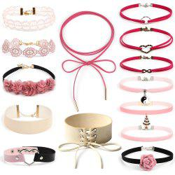 New Choker Collar Love Bow Christmas Set Sweet Pink Velvet Necklace -