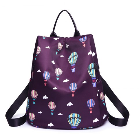 Latest Women Nylon Fabric Backpack Fashion Printing Balloon Bags