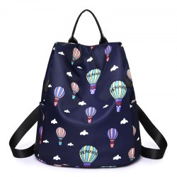 Women Nylon Fabric Backpack Fashion Printing Balloon Bags -