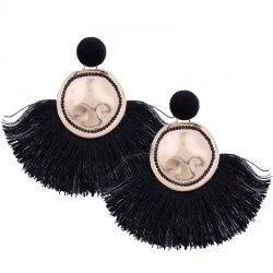 Creatitive Sector Tassels Geometric Round Alloy Earrings -