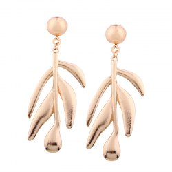 Women Creative Pop Leaf Shaped Personality Long Earring -