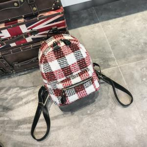 New Shoulder Bag Plaid Woof Double Back Plaid Ladies Backpack 2018 Stylish Wild Double Backpack -