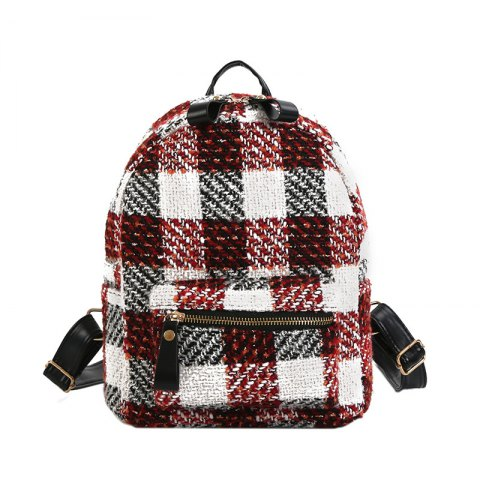 Online New Shoulder Bag Plaid Woof Double Back Plaid Ladies Backpack 2018 Stylish Wild Double Backpack