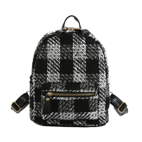 Hot New Shoulder Bag Plaid Woof Double Back Plaid Ladies Backpack 2018 Stylish Wild Double Backpack