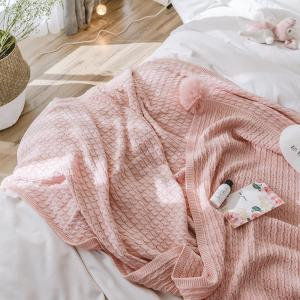 Pink All-Cotton Knit Ball Blanket -