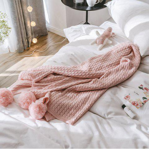 Shop Pink All-Cotton Knit Ball Blanket