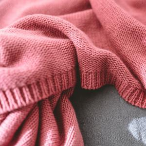 Cotton Pure Color Gradient Wool Knit Casual Blanket -