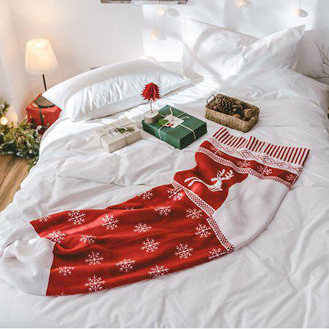 Chic New Big Red Christmas Stockings Knit Creative Blankets