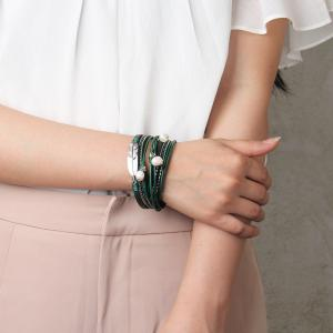 Hot Selling New Fashion Summer Wind Personality Multilevel Cowhide Pearls Feather Bracelet -