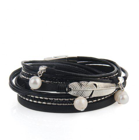 Latest Hot Selling New Fashion Summer Wind Personality Multilevel Cowhide Pearls Feather Bracelet