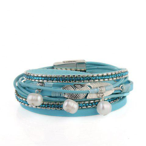 Shops Hot Selling New Fashion Summer Wind Personality Multilevel Cowhide Pearls Feather Bracelet