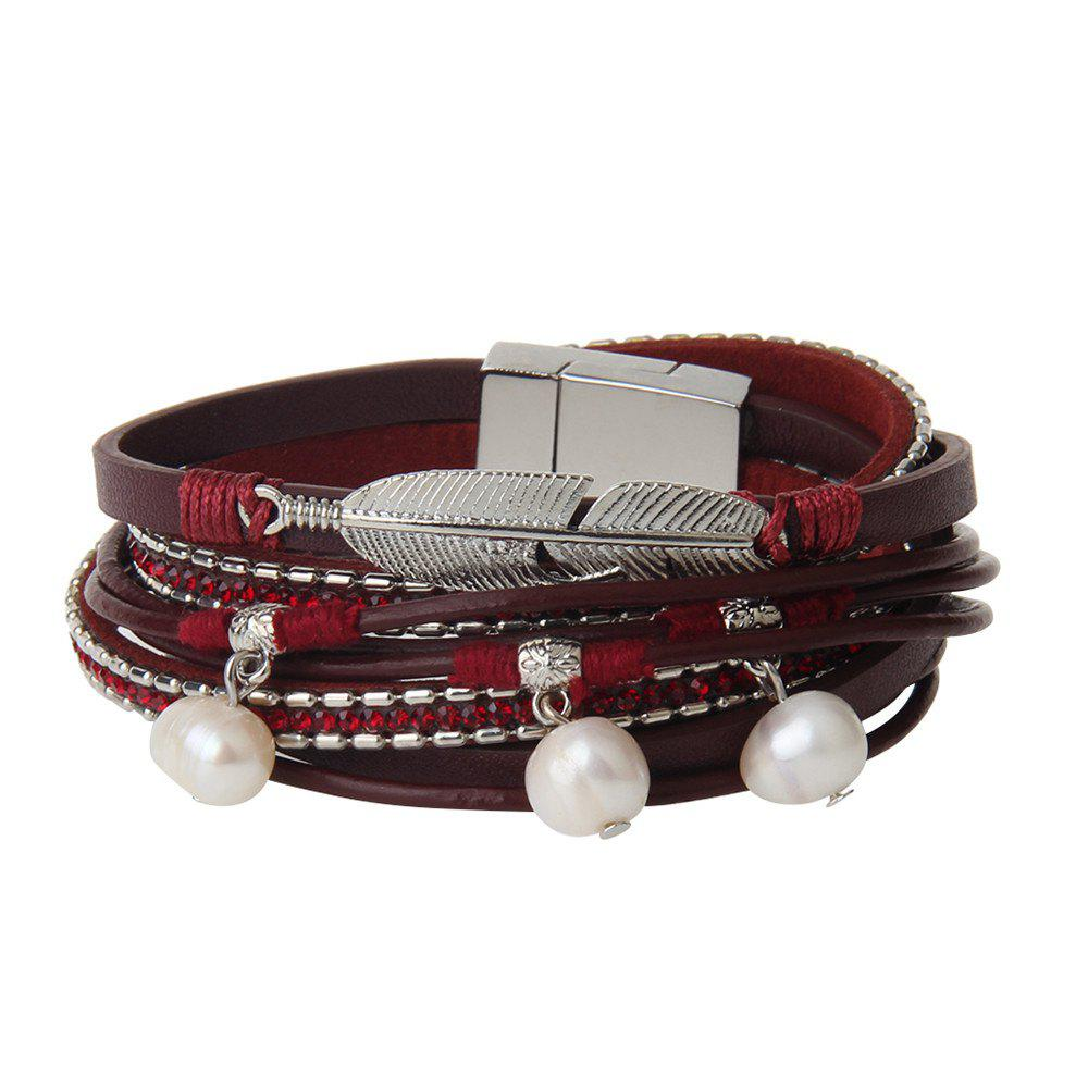 Online Hot Selling New Fashion Summer Wind Personality Multilevel Cowhide Pearls Feather Bracelet