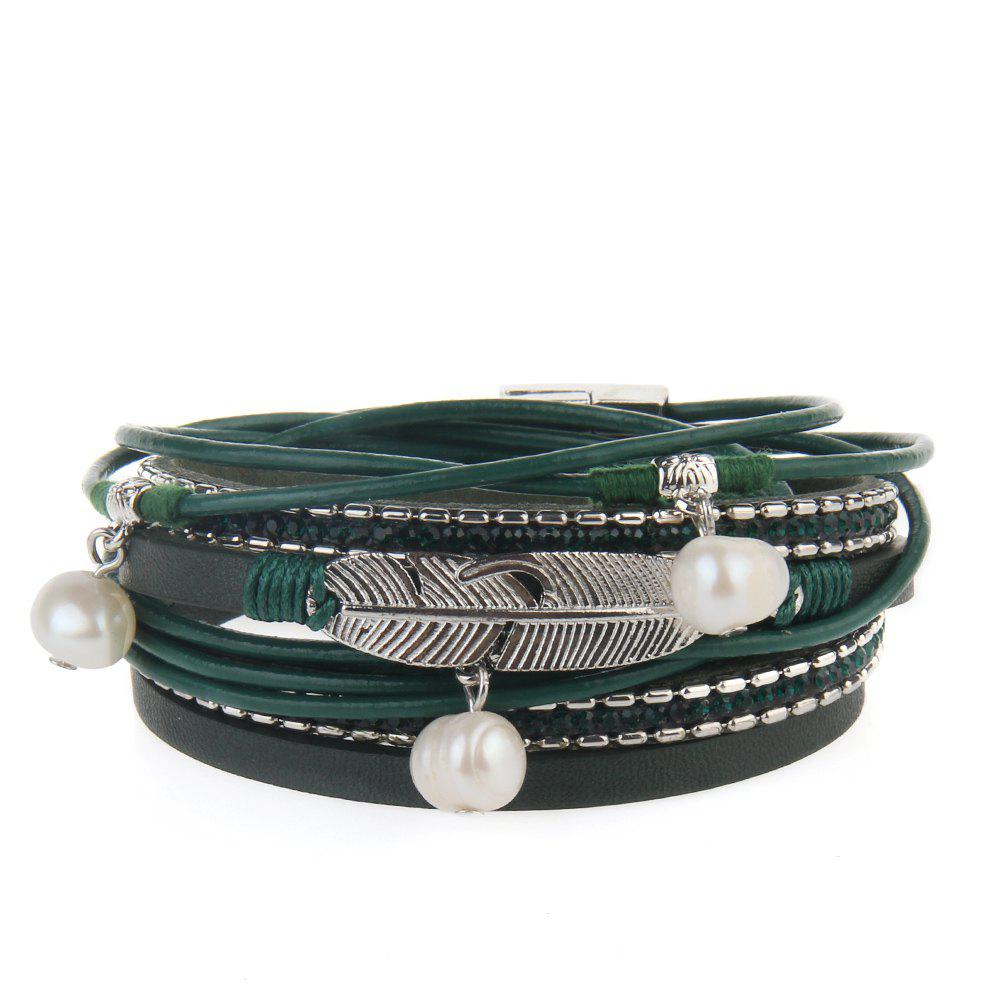 Fashion Hot Selling New Fashion Summer Wind Personality Multilevel Cowhide Pearls Feather Bracelet