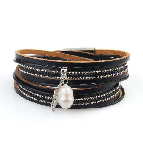 Shops New Ornaments Fashion Summer Multilevel Pearls and Feather Bracelets