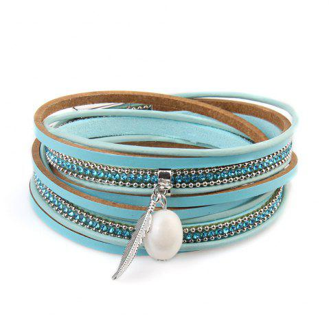 Shop New Ornaments Fashion Summer Multilevel Pearls and Feather Bracelets