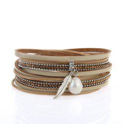 New Ornaments Fashion Summer Multilevel Pearls and Feather Bracelets -