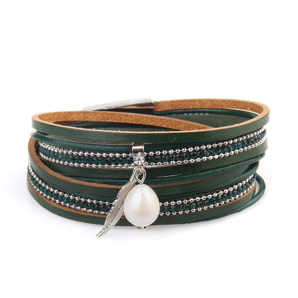 Fancy New Ornaments Fashion Summer Multilevel Pearls and Feather Bracelets