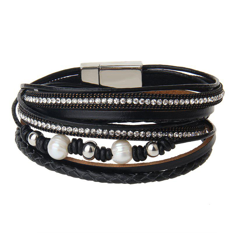 Online New Jewelry Fashion Magnet Buckle Multi Layer Pearls Bracelet