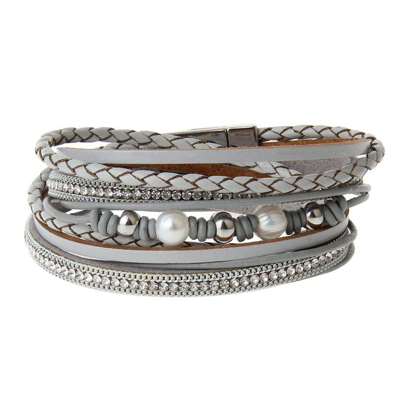 Affordable New Jewelry Fashion Magnet Buckle Multi Layer Pearls Bracelet