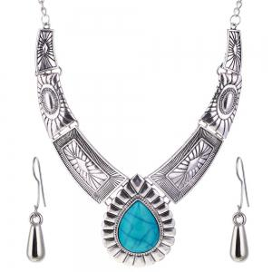 Women Vintage Jewelry Water Drop Pendant Necklace  Leaves Earrings -