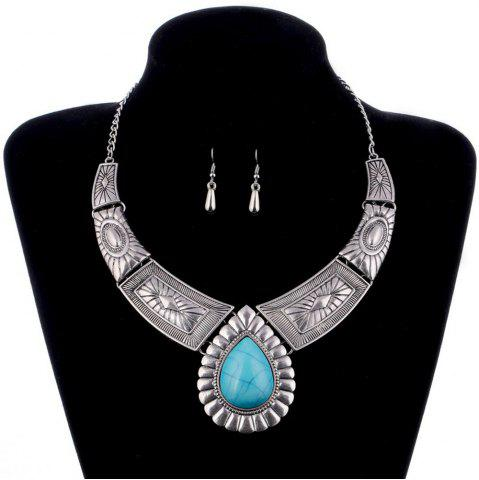 Buy Women Vintage Jewelry Water Drop Pendant Necklace  Leaves Earrings