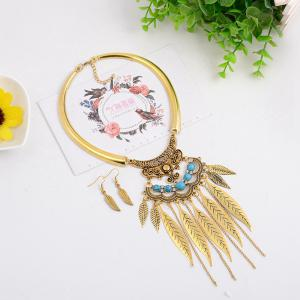 Women Vintage Leaves Tassel Pendants Necklace Metal Collar Fashion Jewelry Choker -