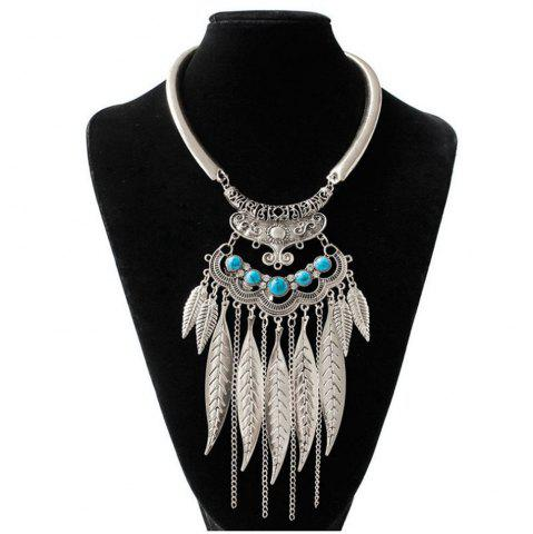 Latest Women Vintage Leaves Tassel Pendants Necklace Metal Collar Fashion Jewelry Choker
