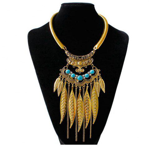 Shops Women Vintage Leaves Tassel Pendants Necklace Metal Collar Fashion Jewelry Choker