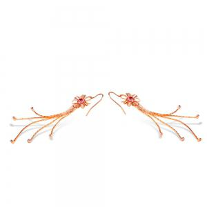 Tassel Flower Rose Gold Pendant Earrings -