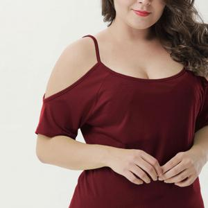 Round Collar Camisole Solid Color T-Shirt -