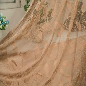 Gold Woven Leaves Hollow Curtain Window Curtains 1pc -
