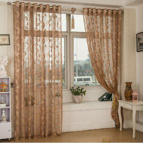 Cheap Gold Woven Leaves Hollow Curtain Window Curtains 1pc