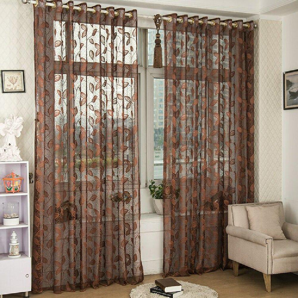 Chic Gold Woven Leaves Hollow Curtain Window Curtains 1pc