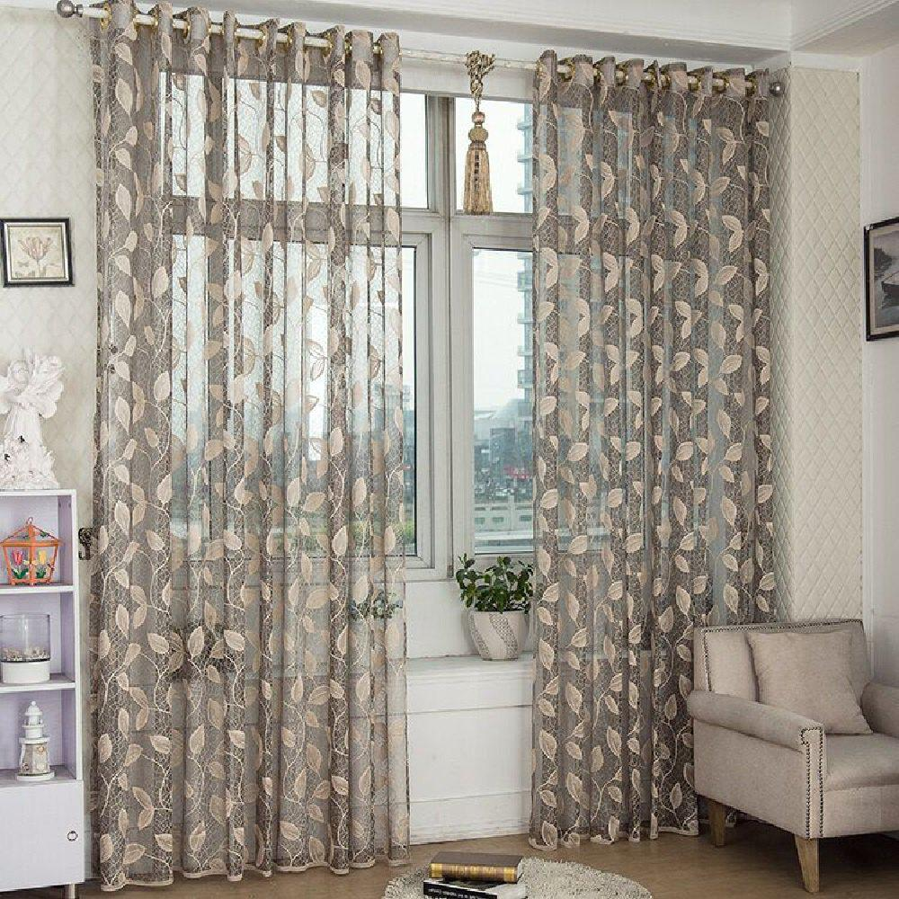 Hot Gold Woven Leaves Hollow Curtain Window Curtains 1pc