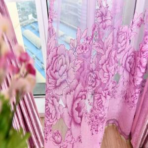Purple Flower Peony Modern Bedroom Curtains -
