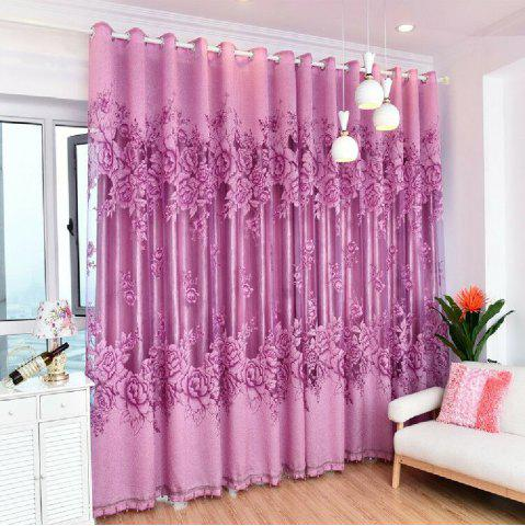 Chic Purple Flower Peony Modern Bedroom Curtains