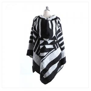Black and white geometric imitated cashmere with cap shawl -