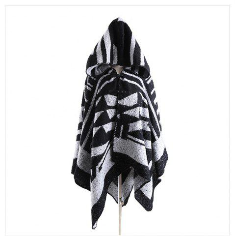 Online Black and white geometric imitated cashmere with cap shawl