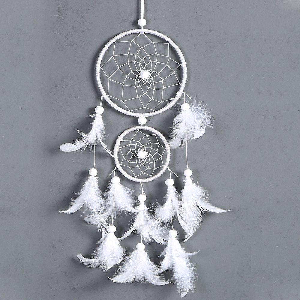 Fancy Umiwe White Dreamcatcher Gift Handmade Dream Catcher Net With Feathers Wall Hanging Decoration Ornament For