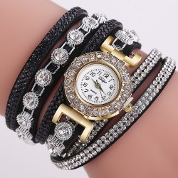 DUOYA D196 Women Wrap Around Quartz Wrist Watch with Diamond Purple - Black - With Built-in Battery