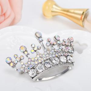 Silver Color Fashion Rhinestone Crystal Crown Brooches Pin Corsage for Woman -