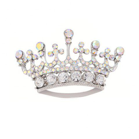 Affordable Silver Color Fashion Rhinestone Crystal Crown Brooches Pin Corsage for Woman