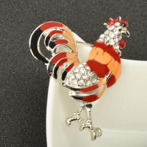 Enameled and Crystal Rhinestones Chicken Rooster Fashion Brooch Pins for Women -