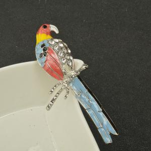 Cute Enamel Colorful Parrot Brooches for Women Fashion Rinestone Design Animal Brooch Pin -