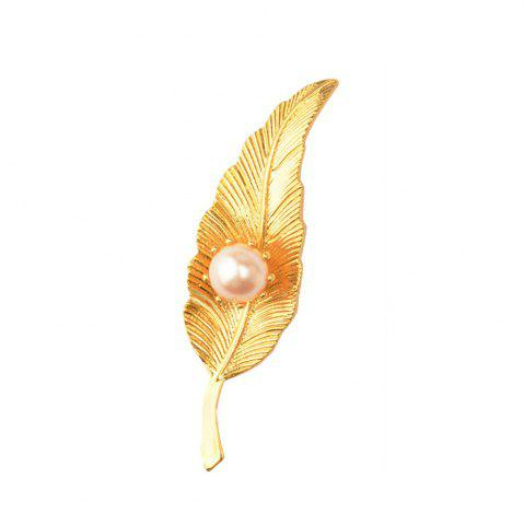 Trendy Copper Electroplating gold leaf brooch for Woman Gold Color Pin Pearl Leaves Brooches