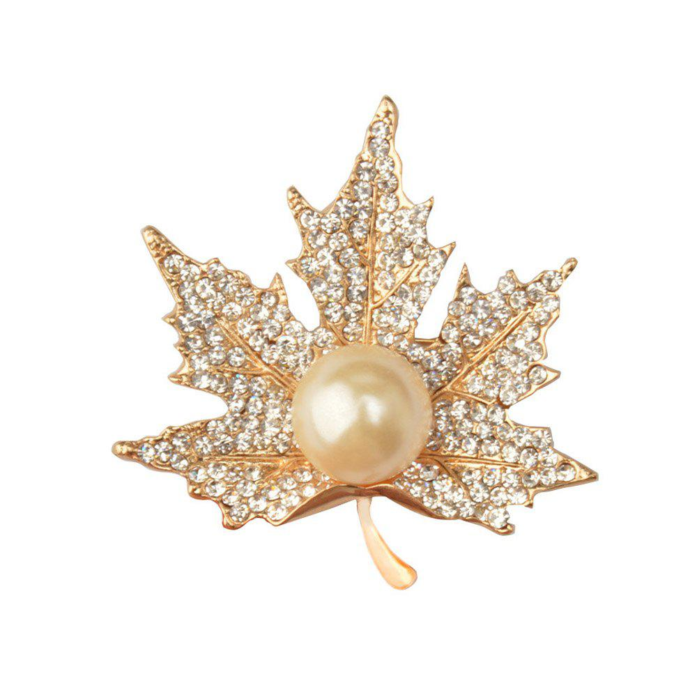 New Maple Leaf Brooch Gold Color Brooches Pins Exquisite Collar For Women