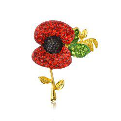 Charming Fashion Jewelry Accessories Royal British Style Brooch Crystal Poppy Flower Brooch Pin -