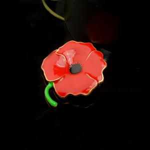 Vintage Red Poppy Flower Brooch Pin Corsage Pins For Women -