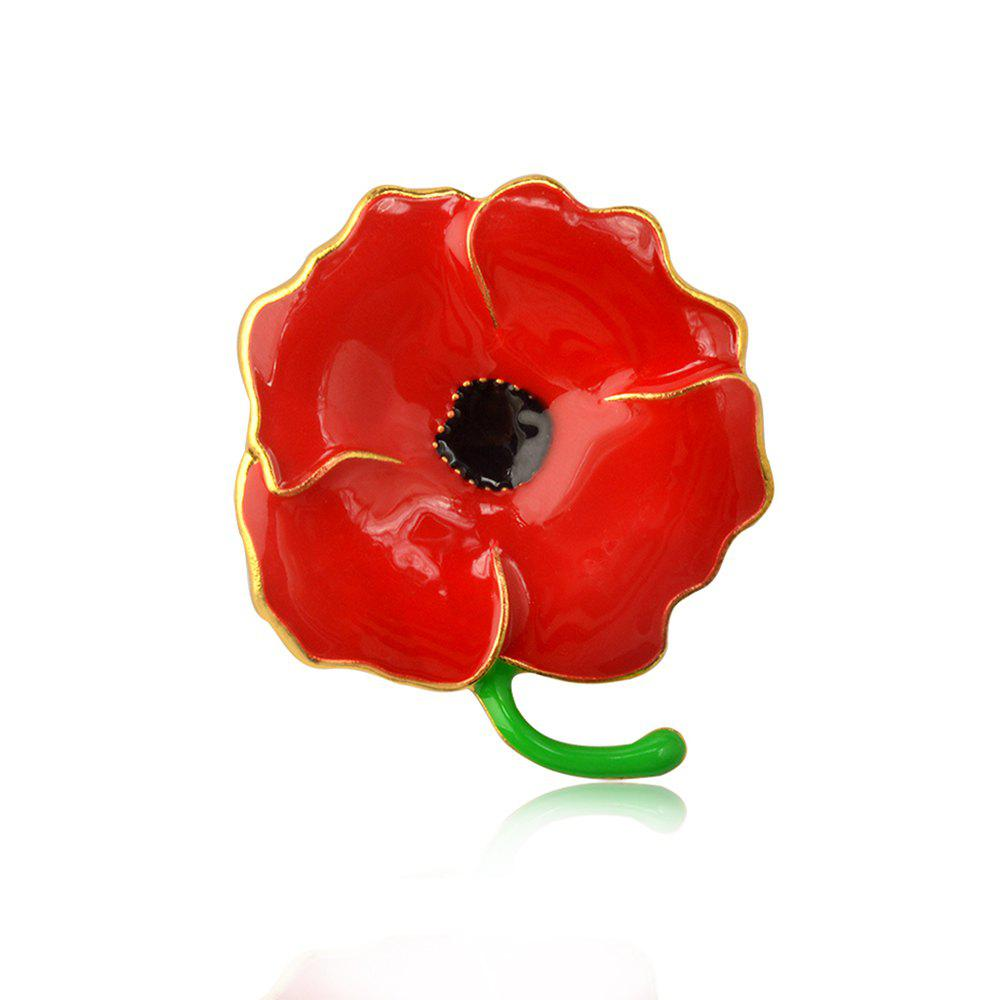 Fashion Vintage Red Poppy Flower Brooch Pin Corsage Pins For Women