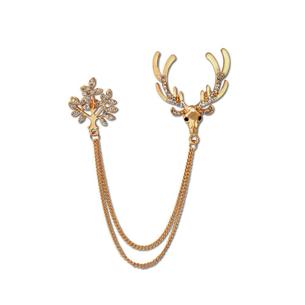 Unique Fashion Trendy Brooches For Pin Hot Shirt Linger Head Male Collar Angle Chain Buckle Personality Deer Brooch